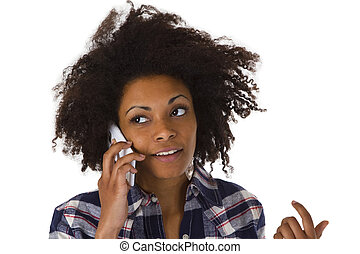 Young african american woman on cellphone