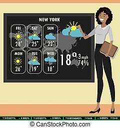 african american woman on TV tells a weather forecast,
