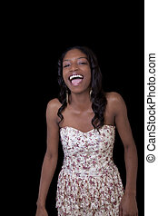 Young African American Woman Open Mouth Laugh