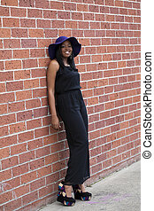 Young African American Woman Pants Suit Outdoors