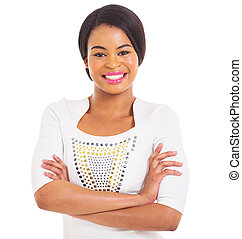 young african American woman portrait - portrait of...