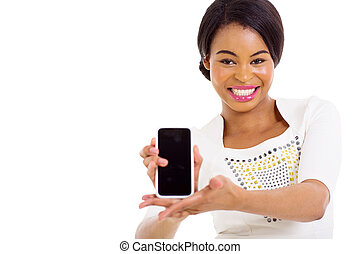 young african american woman presenting smart phone