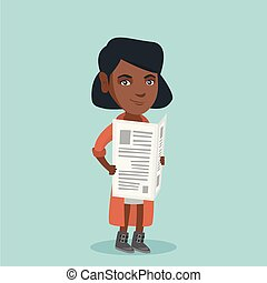 Young african-american woman reading a newspaper. - Young...