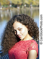 Young African American Woman Red Dress Outdoors