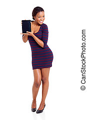 young african american woman showing tablet computer