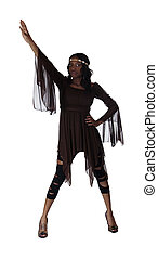 Young African American Woman Standing Leggings Dress