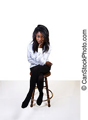 Young African American Woman Stockings Shirt Stool
