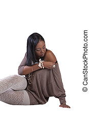 Young African American Woman Textured Stockings Sitting