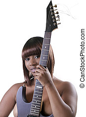 Young African American Woman topless holding guitar