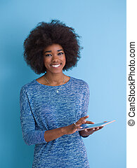 young African American Woman Using Digital Tablet