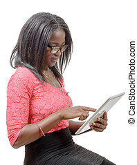 young african american woman with a tablet