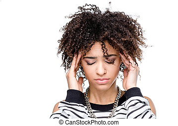 young african american woman with headache isolated on white
