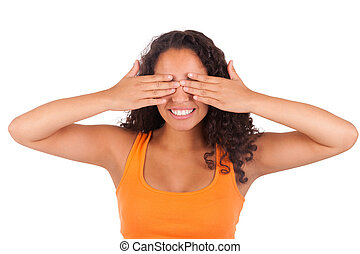 Young african american woman with her hands over her eye
