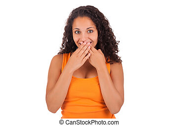 Young african american woman with her hands over her mouth