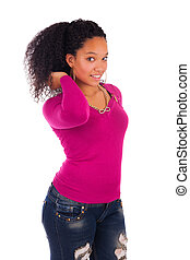 Young african american woman with long hair