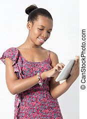 Young African American woman working on her tablet