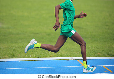 African athlete won the foot race with long steps - Young...