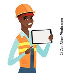 Young african builder holding tablet computer.