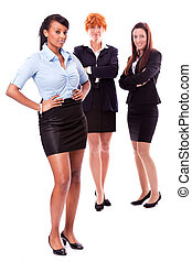 young african business woman and female team isolated