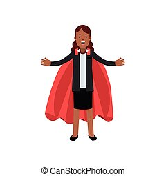 Young African business woman in black jacket and skirt with red superhero cape. Cartoon lady character with arms wide open. Career and leadership. Flat vector design
