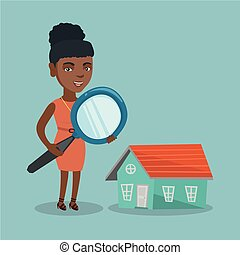 Young african business woman looking for a house.