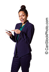 Young african business woman pointing at her mobile phone