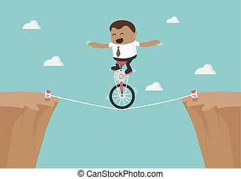 Young African businessman balancing on the rope