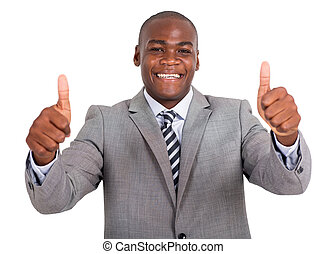 young african businessman giving thumbs up