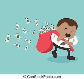Young African Businessman happy with carrying a lot of money