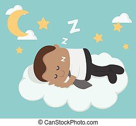 Young African Businessman sleeping on a cloud