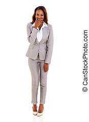 young african businesswoman laughing