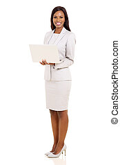 young african businesswoman with laptop