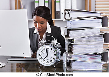 Young African Businesswoman Working In Office