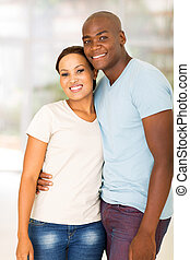 young african couple at home