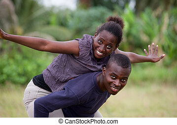 young african couple, happy.
