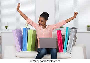 Excited Woman While Shopping Online