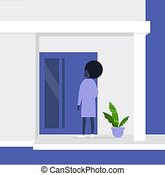 Young african female character standing next to a front door, building entrance, residential property