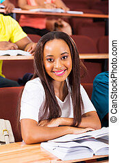 young african female student in class