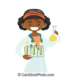 Young african laboratory assistant at work.