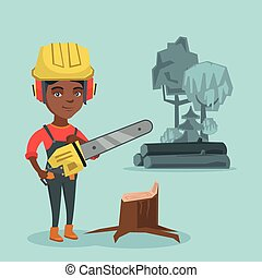 Young african lumberjack holding a chainsaw.