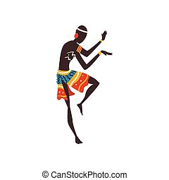 Young African Man Dancing, Aboriginal Dancer in Bright...