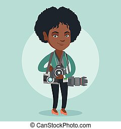 Young african photographer with photo cameras. - Young...