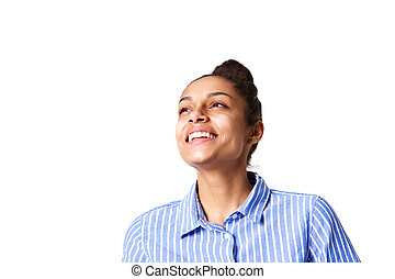 Young african woman looking away and smiling