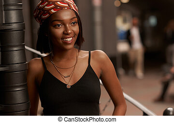 Young african woman outdoor portrait