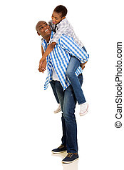 young african woman piggybacking on her boyfriend