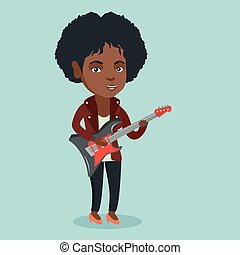 Young african woman playing the electric guitar.