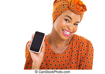 young african woman showing smart phone