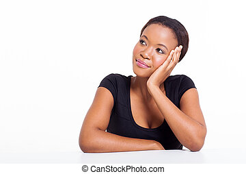 young african woman thinking