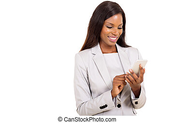 young african woman using smart phone