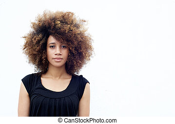 Young african woman with curly hair